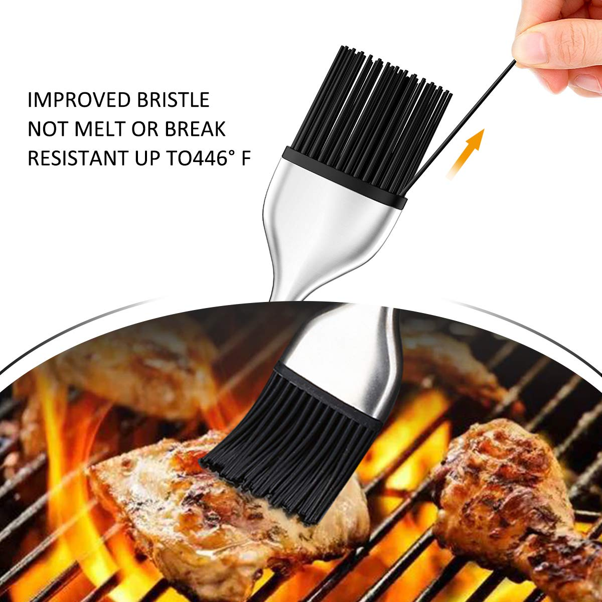 Hcomine Set of 5 Basting Brush, Pastry Silicone/Grill/BBQ/Sauce/Butter/Oil Brush with Flexible Heatproof Stainless Steel Handle 12'' and 7.9'',Food Grade FDA Approved, Dishwasher Safe, Bristle Free. by Hcomine (Image #4)