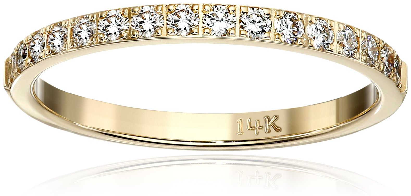 14k Yellow Gold Half-Eternity Diamond Wedding Band (2 mm) (0.32 cttw, SI-1, G Color), Size 7