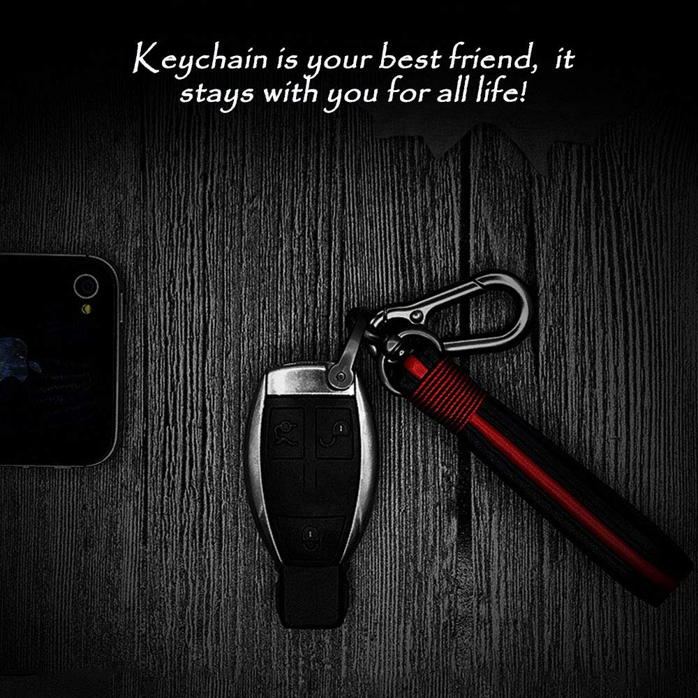 Red in Black Keychain Leather Keychains Ring for Universal Car SBA Zinc Alloy Key Chain in Gift Box for Women and Men Nickel Lanyard Release Detachable Hook with Strap fit for Car Remote Starter