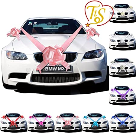 a3e5b3bbaba TtS Baby Pink Ribbon Wedding Car Decoration Kit Wrapping Large Bow (1 Bow 7  metres Ribbon )  Amazon.co.uk  Kitchen   Home