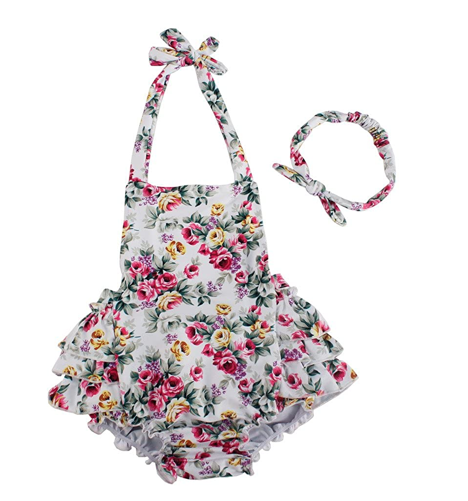 Dalary White Rose Floral Dress Baby Girl's Swimsuit with Headband Three Babies_183