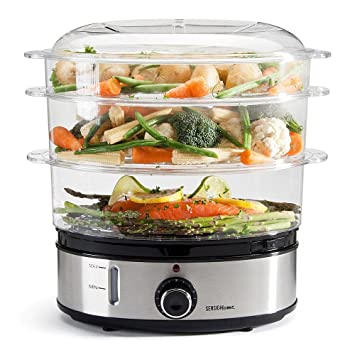 Sensio Home Stainless Steel 3 Tier Vegetable Steamer For Cooking With Timer    Large Capacity Electric