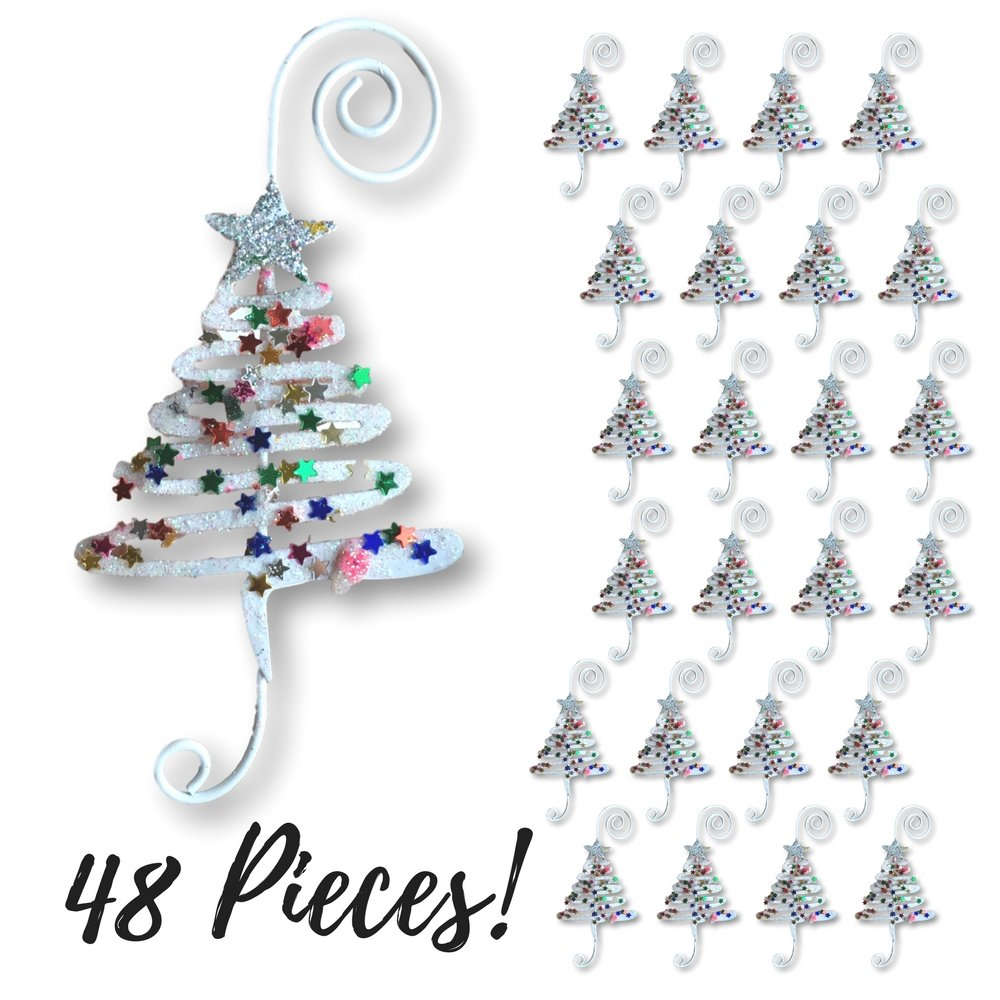 Christmas Ornament Hooks - Set of 48 Whimsical Christmas Tree Ornament Hangers - Adored with Fun Confetti Like Glitter - Christmas Ornament Display by Banberry Designs