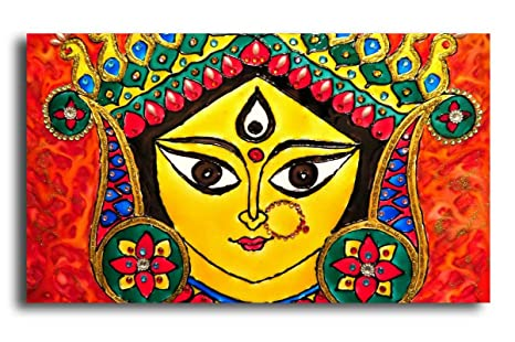 Pixelartz Canvas Painting Maa Durga Modern Art Relgious Canvas Art