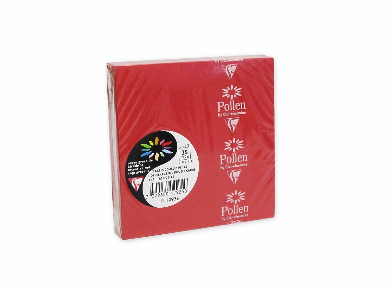Clairefontaine 12925C - Paquete de 25 Tarjetas Dobles 110x110mm Pollen Rojo Grosella 210gr Clairefontaine-Rhodia