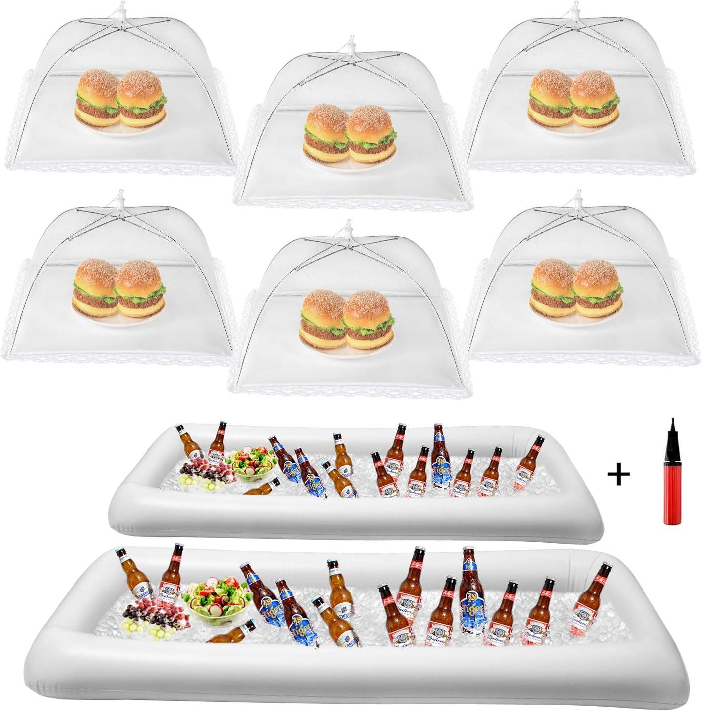 HabiLife Inflatable Serving Bar & Food Umbrella Mesh Cover Screen Tent set, For Parties Picnics Pool Use Bar Party Accessories, 2 Inflatable Bar,6 Food Cover Tent, 1 Balloon Pump(Random Color)