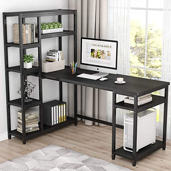 Tribesigns 67 Inches Large Computer Desk With 9 Storage Shelves, Office Desk Study Table Writing Desk Workstation With Hutch Bookshelf For Home Office, Black by Tribesigns
