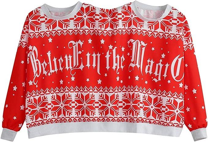 NUOVI Donna Natale Novità Natale Babbo Natale Vintage con Brutto Maglione Felpa