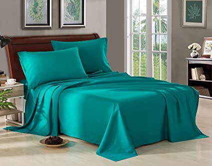 1800 Thread Count Deep Pocket TEAL GREEN COLOR CAL KING SIZE BED SHEET SET  4PCS 100GSM