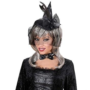 ad58335f9a73d NET TOYS Hexen Mini Hut Kleiner Hexenhut Zauberin Fascinator Spitzhut  Schwarzer Feder Minihut Halloween Kostüm Zubehör