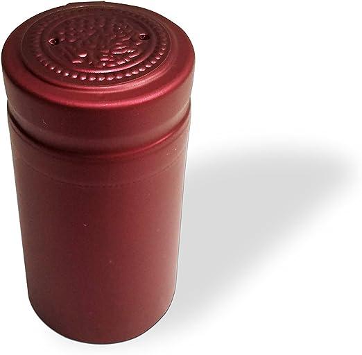 100x 34mm Dia PVC Shrink Capsules Wine Bottles Heat Shrink Caps Sleeves Burgundy