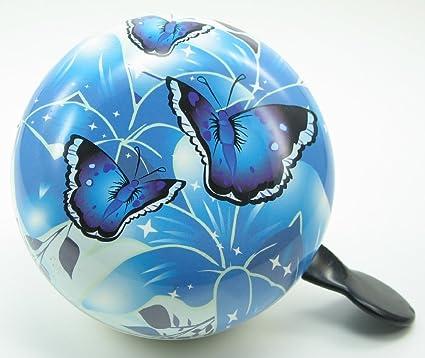 Ding Dong Fahrradklingel bunte Blumen blau Ø 80 mm Fahrrad Klingel XXL Glocke