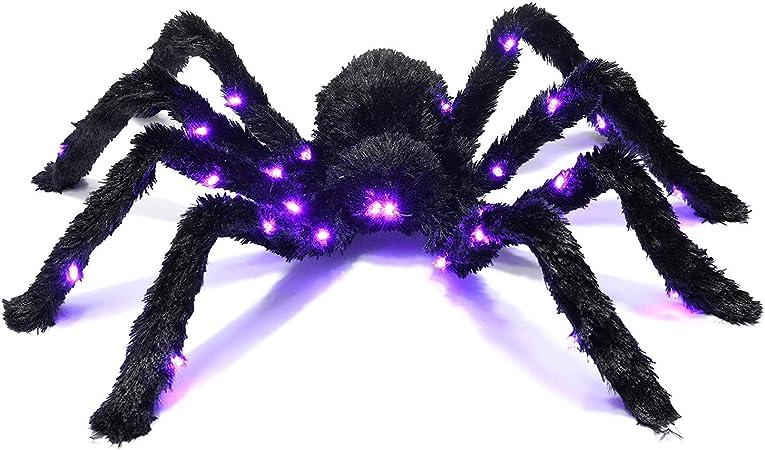 Araign/ée Cheveux Noir Light Up Prextes//Tarantule Halloween Hant/é D/écor Meilleure Decoration d/'Halloween