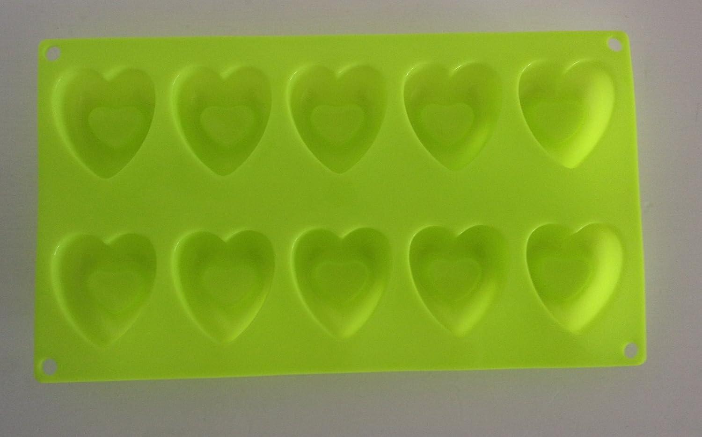 Molde de formas corazón moldes de silicona para pasteles yeso-Velas de jabón verde: Amazon.es: Hogar