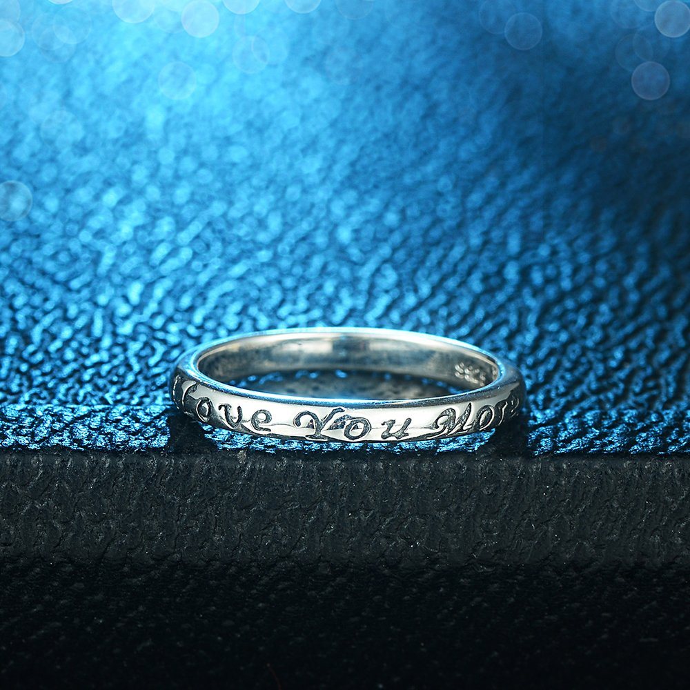 Tongzhe 3mm I Love You More Wedding Band Ring in Antique Sterling Silver 925 with US Size 6 by Tongzhe (Image #3)
