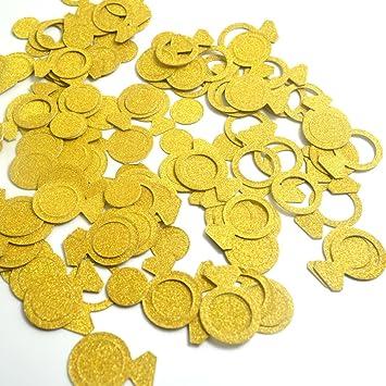 bronagrand 200pcs Glittery Oro Anillo confeti para boda fiesta decoración