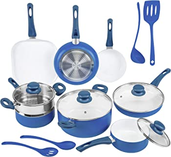 Ivation Ceramic Cookware Set with Induction Base