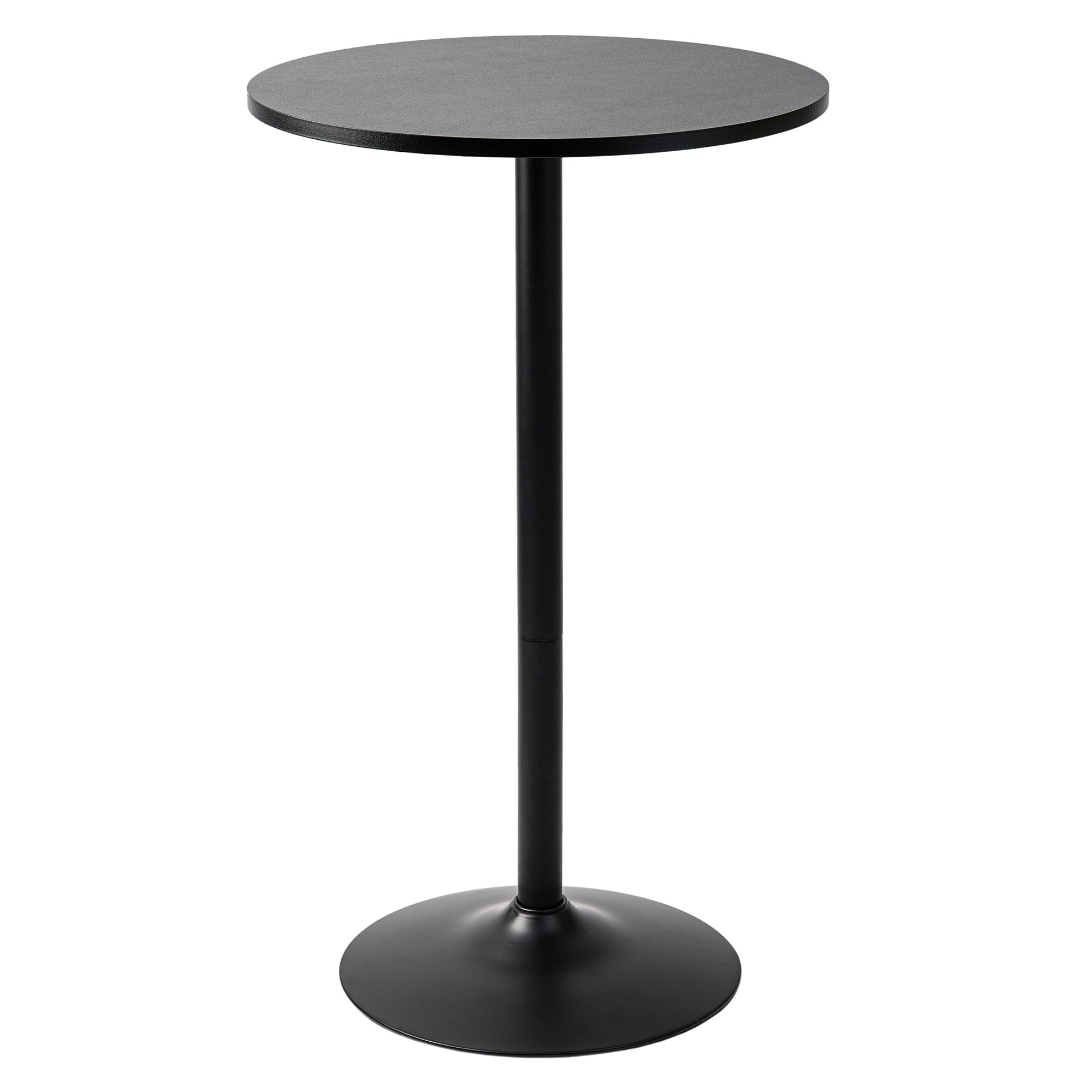 Pearington PEAR-0098 Long and Small, Single Round Cocktail Bar, Pub, and Bistro High Table with Black Top and Base, 1 Pack, by Pearington
