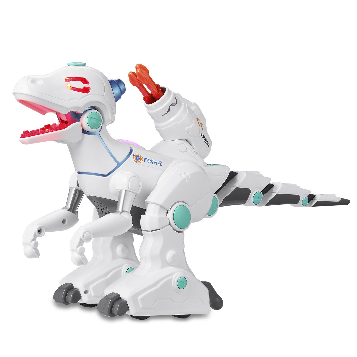 HaiteRemote Control Robot Dinosaur, Dinosaur Toys for Kids, Dino Action, Sprays, Fight, Shooting, Live Sound, Rechargeable Intelligent Electronic Pet for Boys/Girls