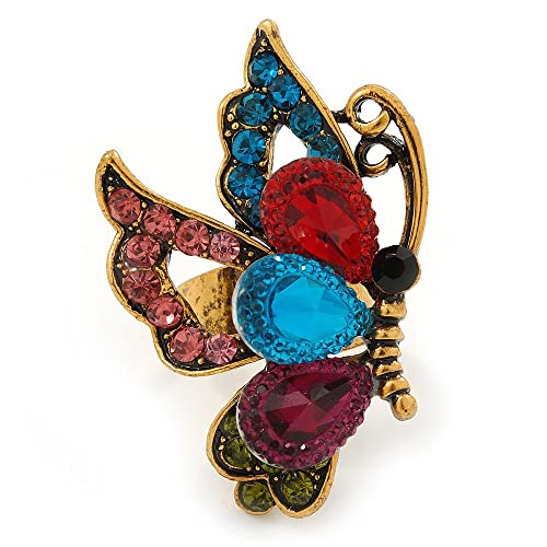 Avalaya Large Blue Crystal Butterfly Ring In Gold Tone - Size 7/8 Adjustable q0d5Z