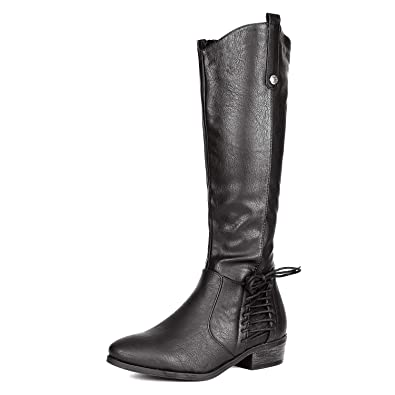 13c0e490f3a DREAM PAIRS Women s Acker Black Knee High Boots Size 5 B(M) US