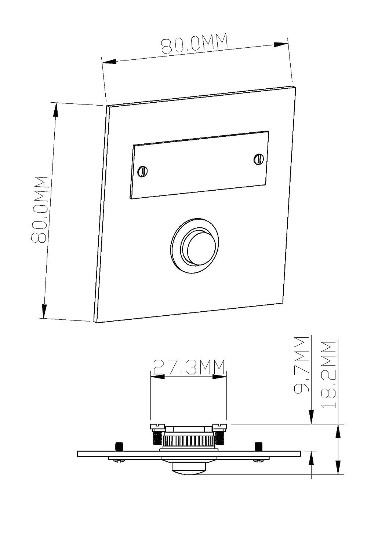 HUBER rectangular Timbre sobre placa para montaje visto acero inoxidable con portanombre de acero inoxidable 42.00 voltsV