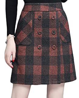 26204edb86 Women's Vintage Plaid A-Line Wool Blend Strecthy Office Midi Pencil ...