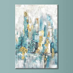 "Abstract Wall Art Cityscape Painting: Modern City Artwork Skyscraper with Gold Foil Hand Painted on Canvas for Dining Room (36"" x 24"" x 1 Panel)"