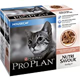 Purina Pro Plan Nutrisavour Housecat Wet Cat Food Salmon in Gravy, 10 x 85 g - Pack of 4