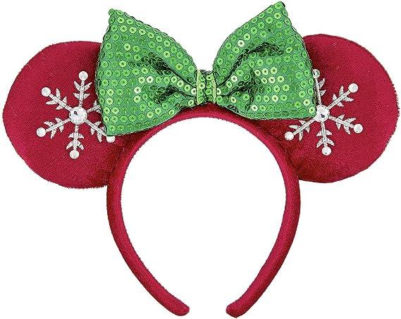Snowflake Minnie Mouse Ears Bow Cos Belle Ariel Disney Park Mickey Headband