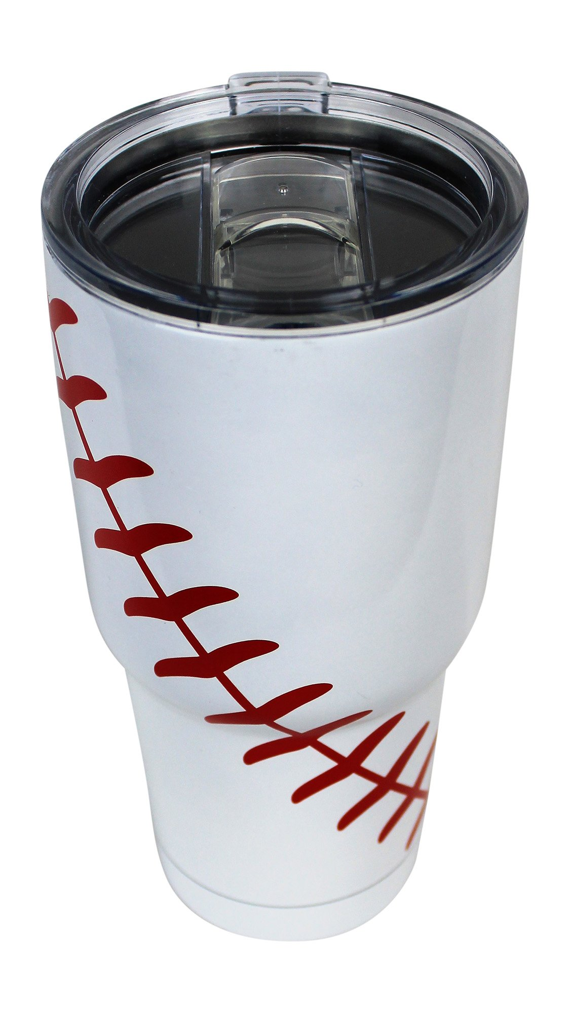 Baseball Tumbler Cup 30oz Gift for Mom Men Sports Travel Coffee Mug, Stainless Steel, Vacuum Insulated, Keeps Water Cold for 24, Hot for 12 hours (Baseball) by KnitPopShop (Image #2)