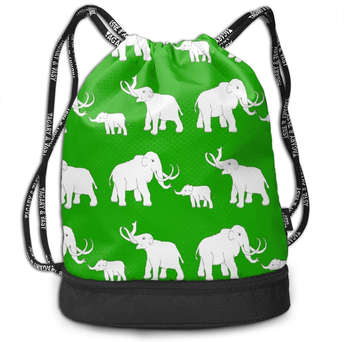Mammoths Green Drawstring Backpack Sports Athletic Gym Cinch Sack String Storage Bags for Hiking Travel Beach