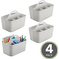 mDesign Juego de 4 cestas organizadoras con asa
