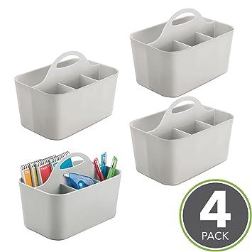 mDesign Juego de 4 cestas organizadoras con asa para el baño – Cestas multiusos para cosméticos