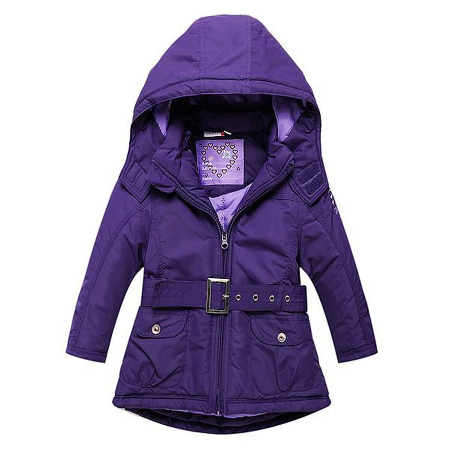 Baqijian Girls Parka Winter Coat Fur Jacket Sashes Cotton-Padded Coat Hooded Wind-Proof Kids Jacket Children Outerwear