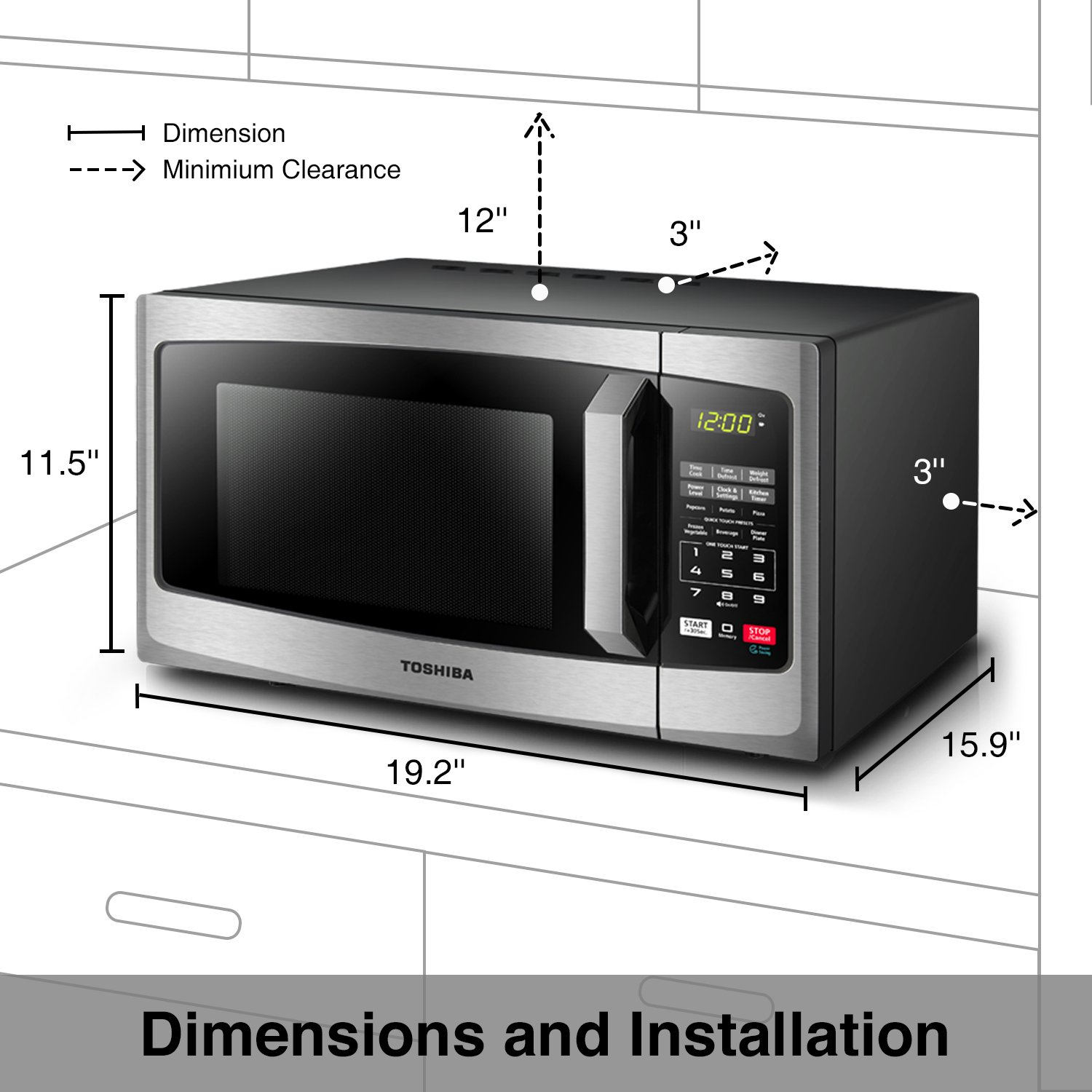 Toshiba EM925A5A-SS Microwave Oven with Sound On/Off ECO Mode and LED Lighting 0.9 cu. ft. Stainless Steel by Toshiba (Image #4)