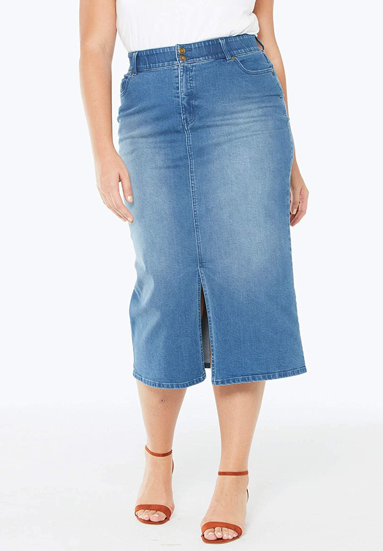 a19b6b1151 Jessica London Women's Plus Size Tummy-Control Denim Maxi Skirt at Amazon  Women's Clothing store: