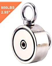"""DasMarine Magnetics Double Sided Round Neodymium Magnet with Eyebolt, Combined 800 lbs Pulling Force, 2.95"""" Diameter"""