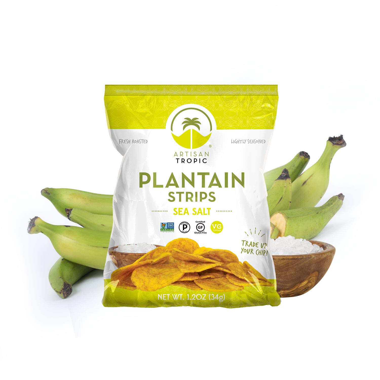 Sea Salt Plantain Chips - Vegan Snacks - Healthy Snacks - Paleo Snacks - Gluten Free Snacks - Whole 30 Approved Foods - Banana Chips - Baked Chips - ARTISAN TROPIC Plantain Strips - 1.2 Oz - 16 Pack
