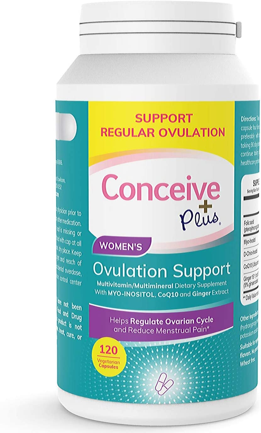 Conceive Plus Ovulation Support for PCOS - Myo-Inositol, Folate, CoQ10, Ginger Extract - More Balanced Regular Ovulation, 120 Vegetarian Soft Capsules