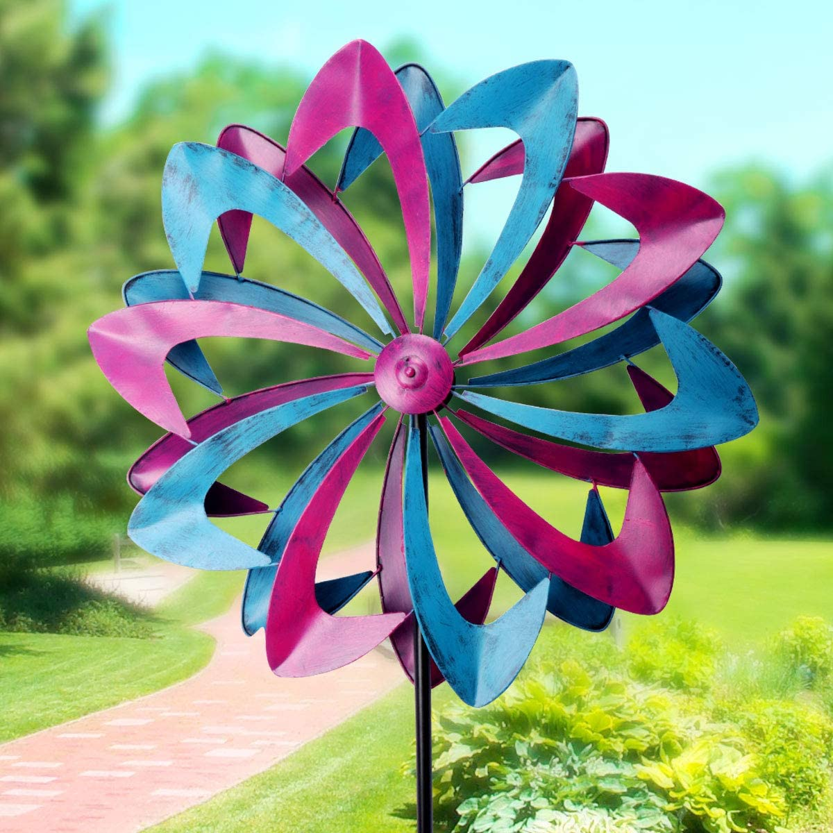 Lovinouse Premium Kinetic Wind Spinner, Large 26 Inch Diameter 84 Inch Height, Dual Direction Spin with Antique Steel Metal Finish, for Outdoor Yard Garden Decoration