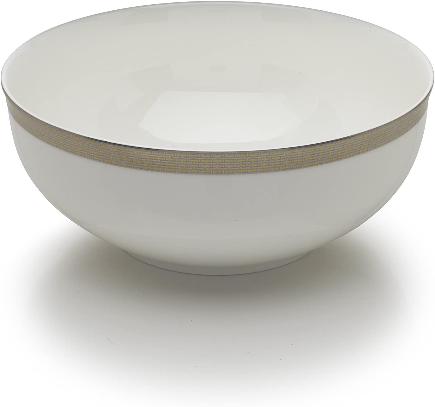 Mikasa Woven Cable Gold 9-Inch Vegetable Bowl White