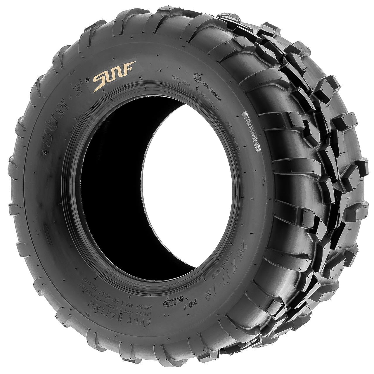 Pair of 2 SunF 25x11-12 AT-XC ATV/UTV Off-Road Tires , 6PR , Directional Knobby Tread | A010 by SunF (Image #4)