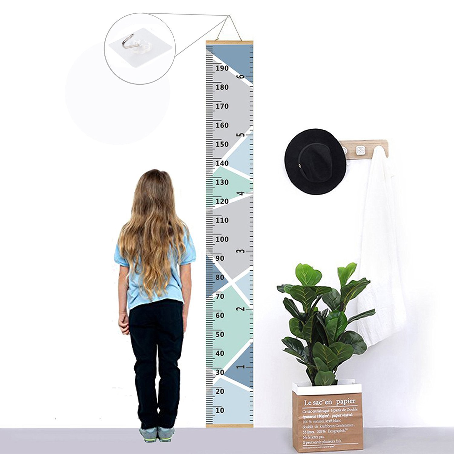 Blue 7.9 x 79in Kids Growth Chart,Bingolar Children Height Chart Growth Wall Chart Height Wall Chart Art Hanging Rulers for Kids Bedroom Nursery Wall Decor Removable Height and Growth Chart