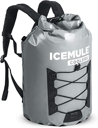 IceMule 1015-Grey Pro XLarge Collapsible Portable Soft Sided Roll Top 33 Liter 24 Can Lightweight Insulated Waterproof Leak Proof Backpack Cooler Bag, for Hiking, Camping, Fishing, Picnic