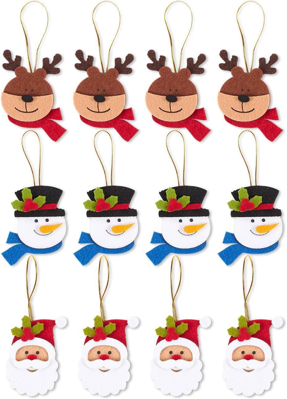 Felt Christmas Tree Ornaments, Reindeer, Santa Claus, and Snowman (12 Pack)