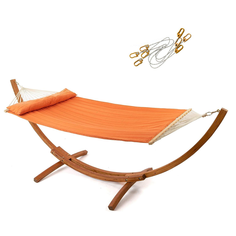 Ampel 24 Hängematte mit Sicherung und Gestell Madagaskar 400 cm braun, Hängemattengestell Holz wetterfest, Stabhängematte gepolstert mit Kissen orange