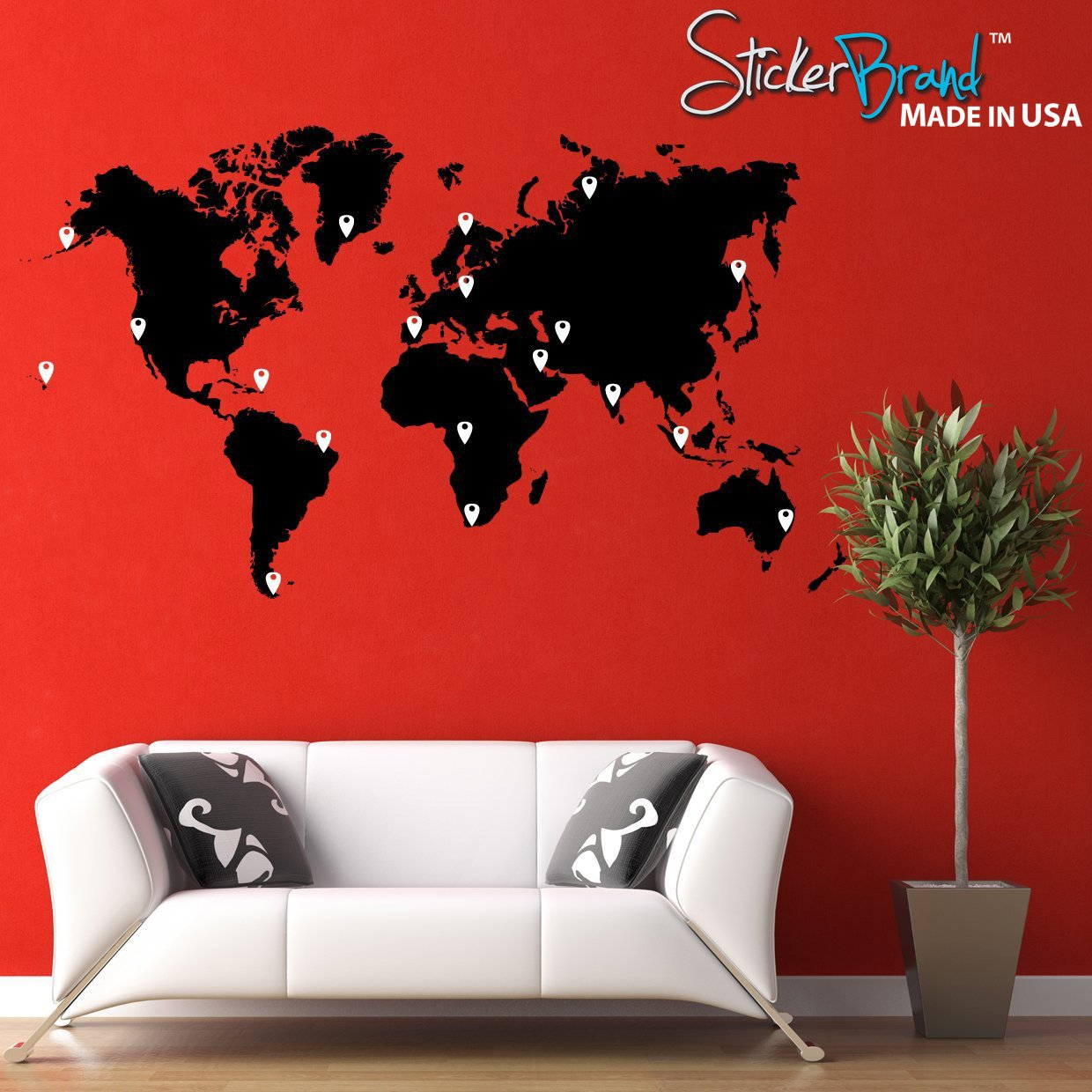 Amazon stickerbrand vinyl wall art world map of earth with amazon stickerbrand vinyl wall art world map of earth with pin drops wall decal sticker black map w red black white grey pins 40 x 70 gumiabroncs Image collections