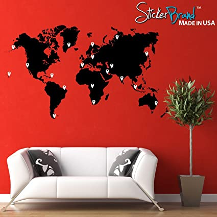 Amazon stickerbrand vinyl wall art world map of earth with pin stickerbrand vinyl wall art world map of earth with pin drops wall decal sticker black gumiabroncs Image collections