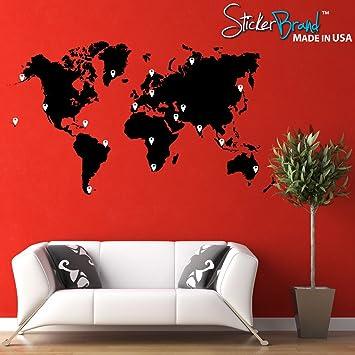 Amazon stickerbrand vinyl wall art world map of earth with stickerbrand vinyl wall art world map of earth with pin drops wall decal sticker black gumiabroncs Gallery